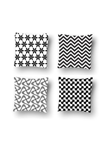 Tezkotekstil Tezko Tekstil Siyah Şekiller Dijital Baskılı 3'Lü Kombin Dekoratif Yastık Kırlent Kılıfı Renkli